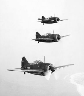 world war ii/squadron brewster f2a buffalo fighter planes undergoing
