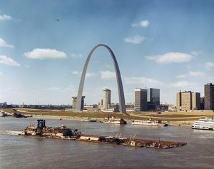 ST. LOUIS: WATERFRONT. A dredge of the U