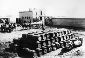 A stack of barrels at the warehouse of Continental Oil, Butte, Montana, 1880.