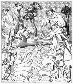 STAG HUNTERS, 15th CENTURY. The way to skin and cut up a stag