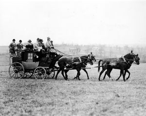 STAGECOACH, 1926. W.P. Hulbert arriving with his guests for the annual cross country