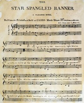 "STAR SPANGLED BANNER, 1814. The first page of the first printed sheet music edition of Francis Scott Key's ""The Star Spangled Banner,"" Baltimore, 1814. Note the misprint in the subtitle."