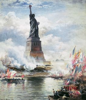 STATUE OF LIBERTY, 1886. The unveiling of the Statue of Liberty in New York Harbor, 28 October 1886