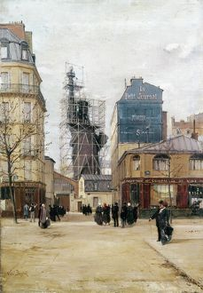 STATUE OF LIBERTY, c1884. Statue of Liberty in scaffold outside the Foundry, Rue de Chazelles