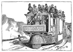 STEAM CARRIAGE. F. Church's steam carriage, built in 1832, designed to run between