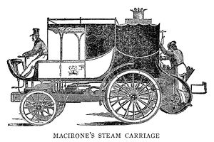 STEAM CARRIAGE. Steam carriage invented by Francis Maceroni, c1836. Engraving, English