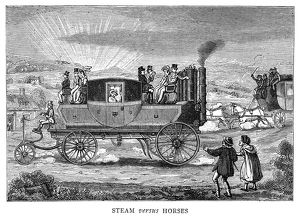 STEAM CARRIAGE. 'Steam versus Horses.' English caricature comparing the ease of