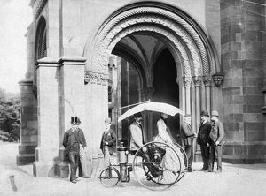 STEAM TRICYCLE, 1888. Inventor Lucius D. Copeland demonstrating his steam tricycle