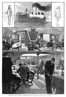 STEAMBOAT, 1880. Scenes on board the American steamer, 'Indiana.' Engraving