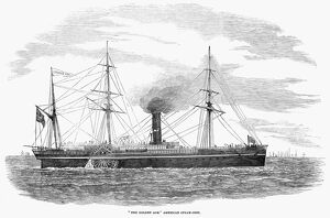 STEAMSHIP, 1853. The American steam-ship 'The Golden Age.' Engraving, 1853