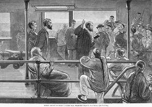 STEAMSHIP, 1877. 'Sunday service on board a Pacific Mail steamship.' Engraving