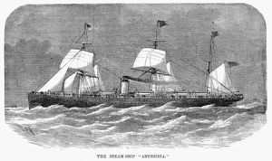 STEAMSHIP: ABYSSINIA. The British steamship, 'Abyssinia.' Engraving, American