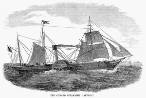 STEAMSHIP: AFRICA. The Cunard Line steamship, 'SS Africa.' Engraving, American