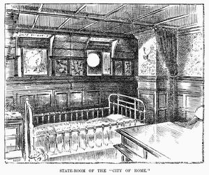STEAMSHIP: CITY OF ROME. Stateroom of the steamship 'City of Rome' of the