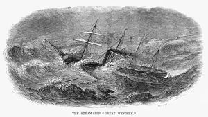 STEAMSHIP: GREAT WESTERN. The British steamship 'SS Great Western.' Engraving