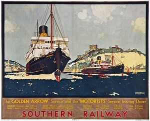 STEAMSHIP TRAVEL POSTER. English poster, 1932, for Southern Railway advertising the