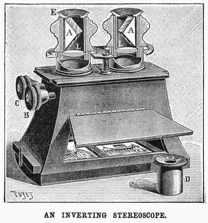 STEREOSCOPE, 1896. 'An inverting stereoscope.' Engraving, American, 1896