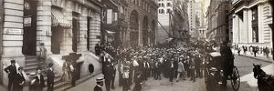 finance commerce/stock brokers c1902 crowd men involved curb