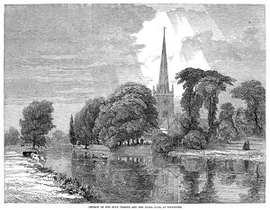 STRATFORD-ON-AVON, 1847. View of the Church of the Holy Trinity at the river at