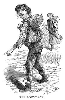 STREET PEDDLER, 1868. 'The boot-black.' Engraving, 1868