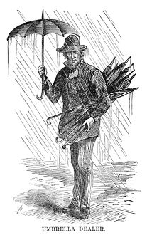 STREET PEDDLER, 1868. 'Umbrella dealer.' Engraving, 1868