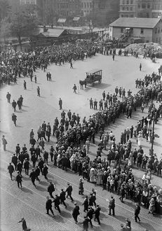 STREETCAR STRIKE, 1916. Striking streetcar workers marching in a parade in New York City