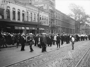 STREETCAR STRIKE, c1915. Striking streetcar workers in New York City. Photograph, c1915