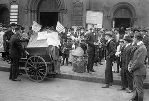 STREETCAR STRIKE, c1916. Striking streetcar workers raising money for their cause