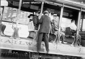 STRIKEBREAKERS, c1916. Strikebreakers and police during a streetcar strike, possibly