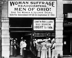 SUFFRAGE HEADQUARTERS. Women's Suffrage Headquarters in Cleveland, Ohio in 1912.