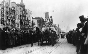 SUFFRAGE PARADE, 1913. Horse drawn float at the women's suffrage parade held in Washington, D
