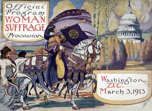 SUFFRAGETTE PARADE, 1913. Cover for the program of the suffragette demonstration