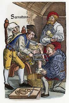 disease healthcare/surgeon performing amputation woodcut edition