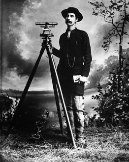 SURVEYOR, c1890. Portrait of a surveyor with tools. Photograph. c1890