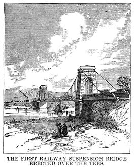 SUSPENSION BRIDGE, 1830. The first railway suspension bridge, built over the River