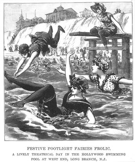 SWIMSUITS, 1892. Wood engraving from the 'Police Gazette,' 1892.