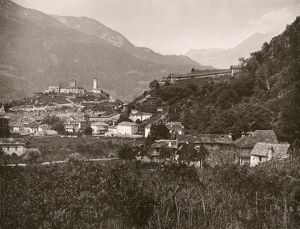 SWITZERLAND: BELLINZONA. View of Bellinzona, Switzerland. Photograph, c1870