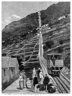 SWITZERLAND: RAILROAD. Mountain railroad line between Montreux and Glion, Switzerland