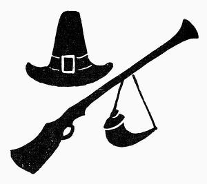SYMBOL: THANKSGIVING. Hat, rifle, and powder horn, symbols of pilgrims and Thanksgiving
