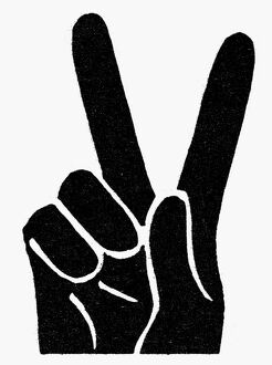 SYMBOL: VICTORY. 'V for Victory' hand sign used by Winston Churchill. Woodcut.