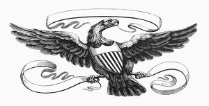 SYMBOLS: AMERICAN EAGLE. Wood engraving, 19th century.