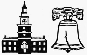 SYMBOLS: INDEPENDENCE DAY. Independence Hall and the Liberty Bell, American symbols