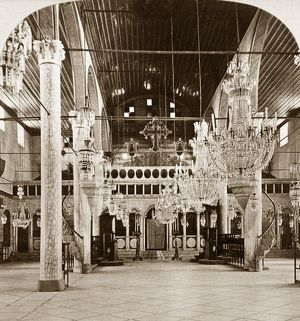 SYRIA: CHURCH, c1903. Interior of the Greek church of Damascus, Syria. Stereograph