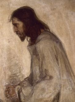 TANNER: THE SAVIOUR. Oil on wood by Henry Ossawa Tanner (1859-1937).