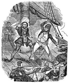 TEACH AND MAYNARD, 1718. Edward Teach, the English pirate better known as Blackbeard