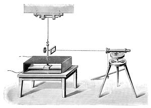 TELEGRAPH, 1833. The first electromagnetic telegraph machine, built by German physicist
