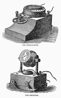 TELEGRAPH, 1860. Communicator and receiver of the military telegraph machine developed