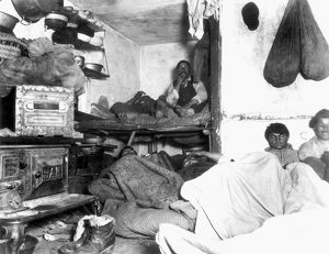 TENEMENT LIFE, NYC, c1889. Lodgers in a Bayard Street tenement. Photograph, c1889