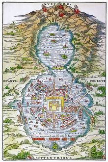 TENOCHTITLAN (MEXICO CITY) at the time of the Spanish Conquest: colored woodcut, 1556
