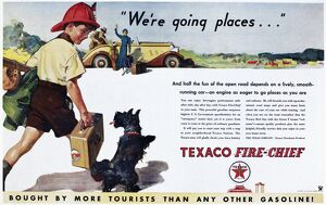 TEXACO ADVERTISEMENT, 1934. American advertisement for Texaco gasoline and motor oil